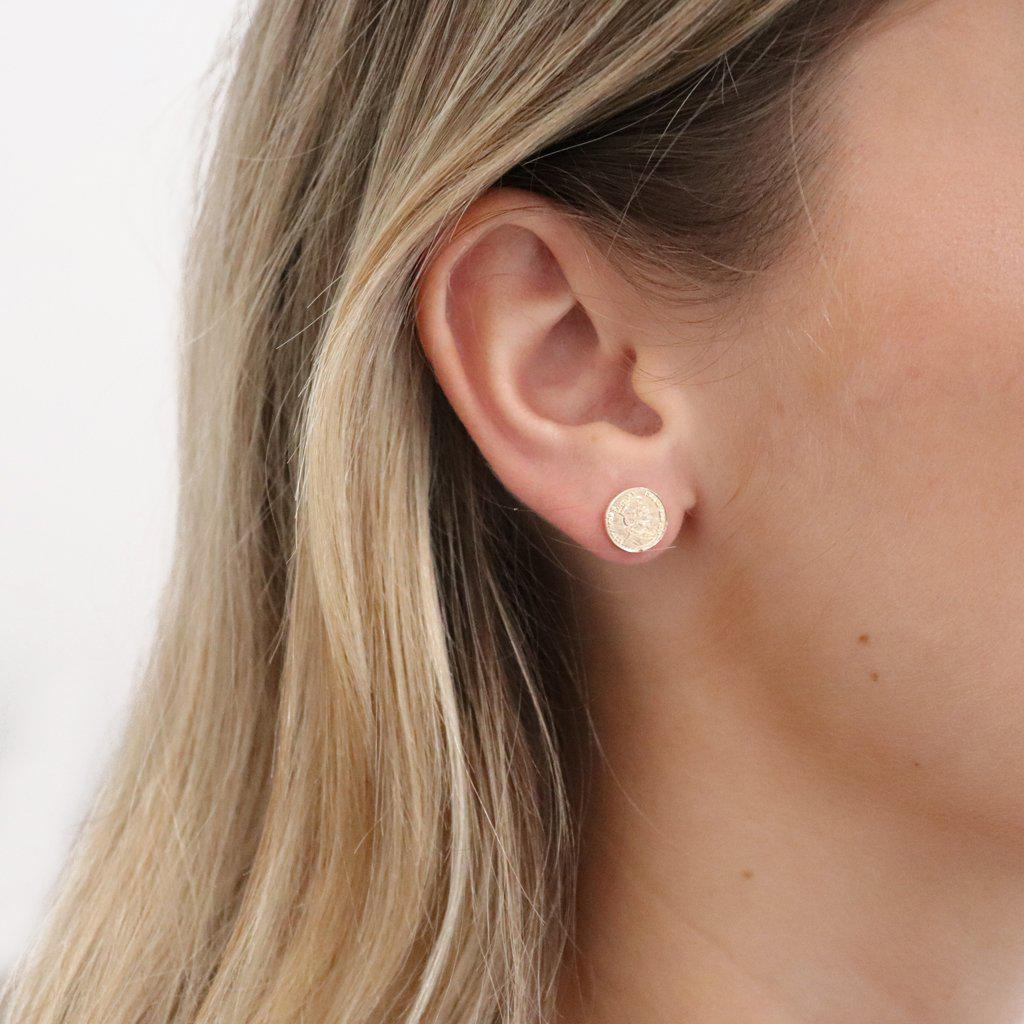 VARSHA COIN GOLD FILLED STUD EARRINGS