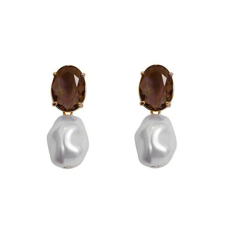 VEGA SMOKEY QUARTZ AND FRESH WATER PEARL EARRINGS