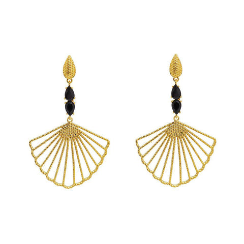 VEGA BLACK AND GOLD SHELL EARRINGS