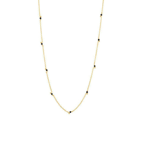 VELIA ONYX SEMI-PRECIOUS GOLD NECKLACE