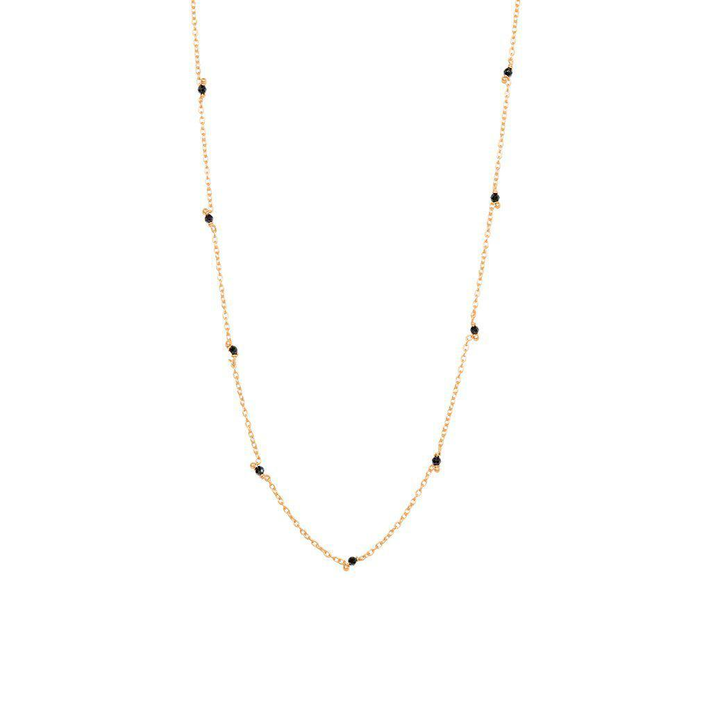 VELIA ONYX SEMI-PRECIOUS ROSE GOLD NECKLACE