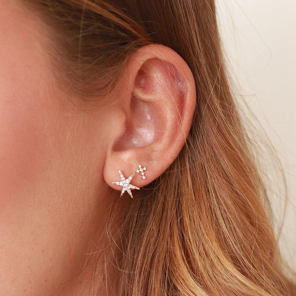 SMALL CROSS CRYSTAL GOLD STUDS