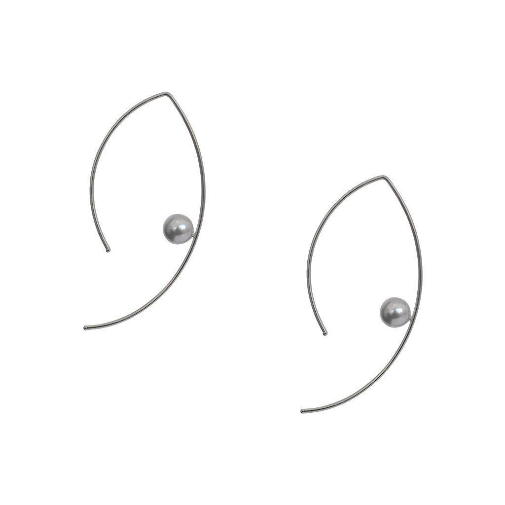 VENUS FRESH WATER PEARL SILVER OPEN HOOP EARRINGS