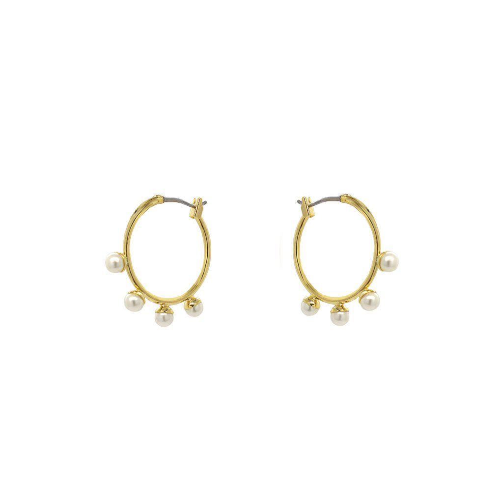 VERO GOLD PEARL HOOP EARRINGS