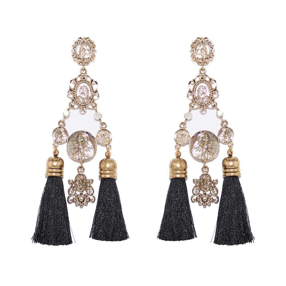 VIENA TASSEL GOLD BLACK EARRINGS-Earrings-MEZI