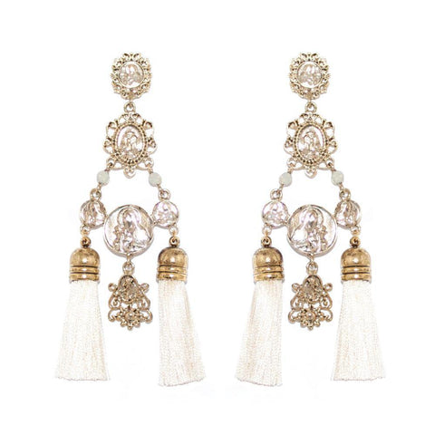 VIENA TASSEL GOLD CREAM EARRINGS-Earrings-MEZI