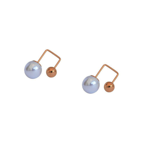 VIOLA FRESHWATER PEARL ROSE GOLD EARRINGS