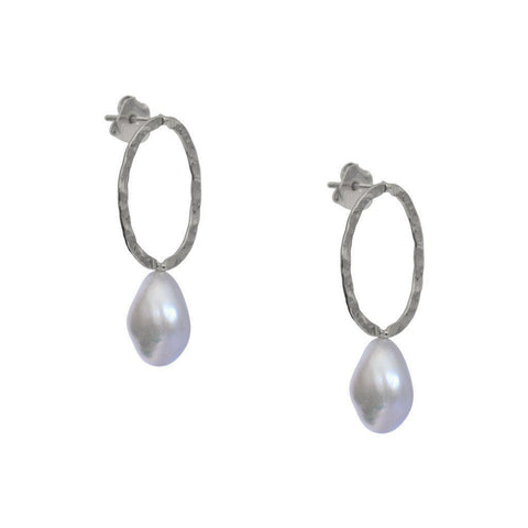 VIOLET FRESHWATER PEARL SILVER EARRINGS