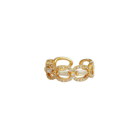 VIONE GOLD CLEAR CRYSTAL RING