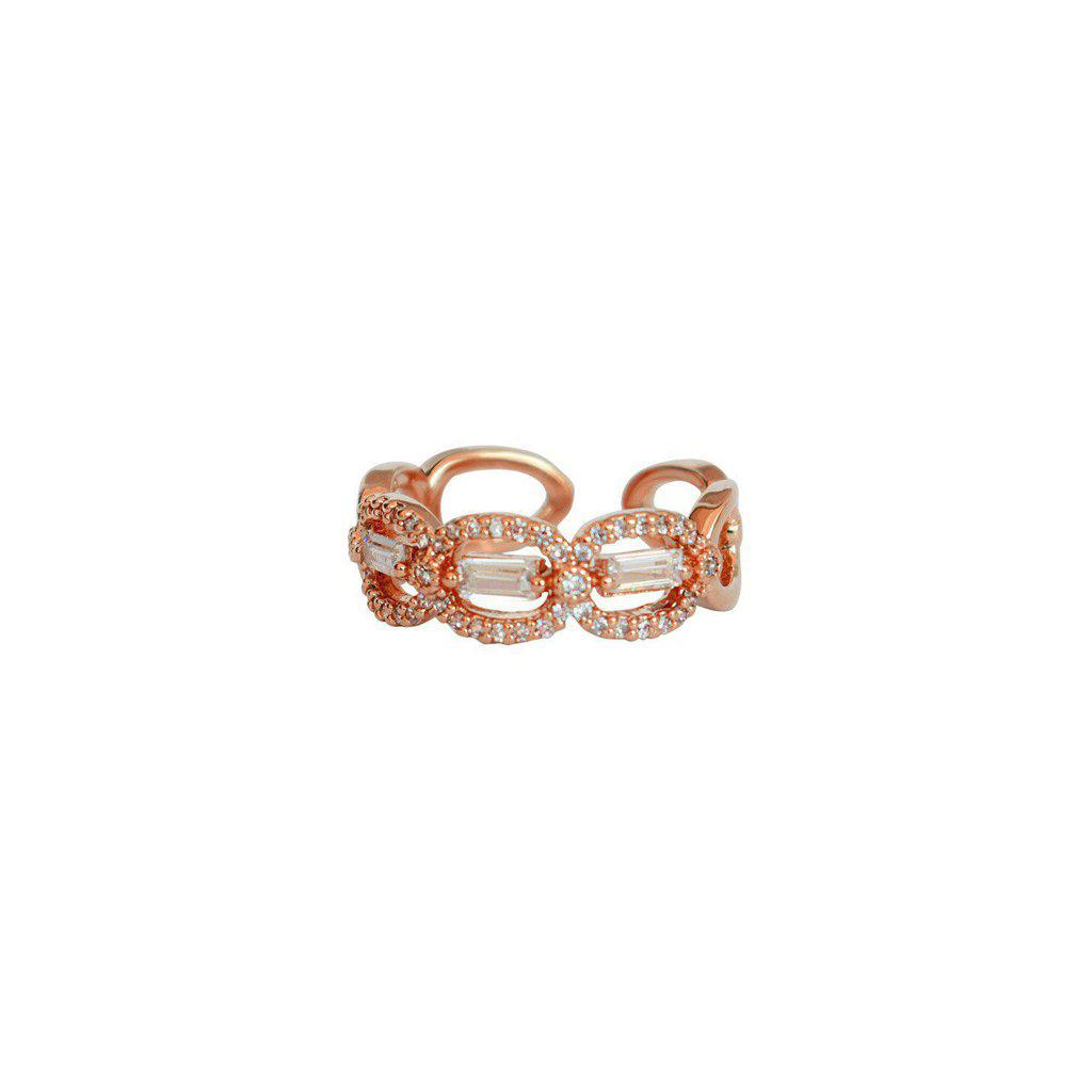VIONE ROSE GOLD CLEAR CRYSTAL RING