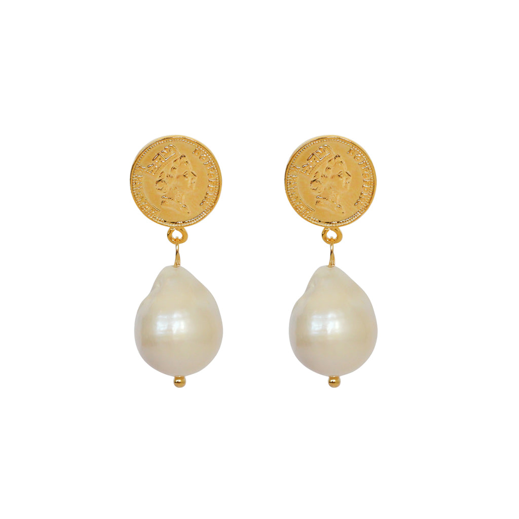 VIQAL GOLD PLATED FRESHWATER PEARL DROP EARRINGS