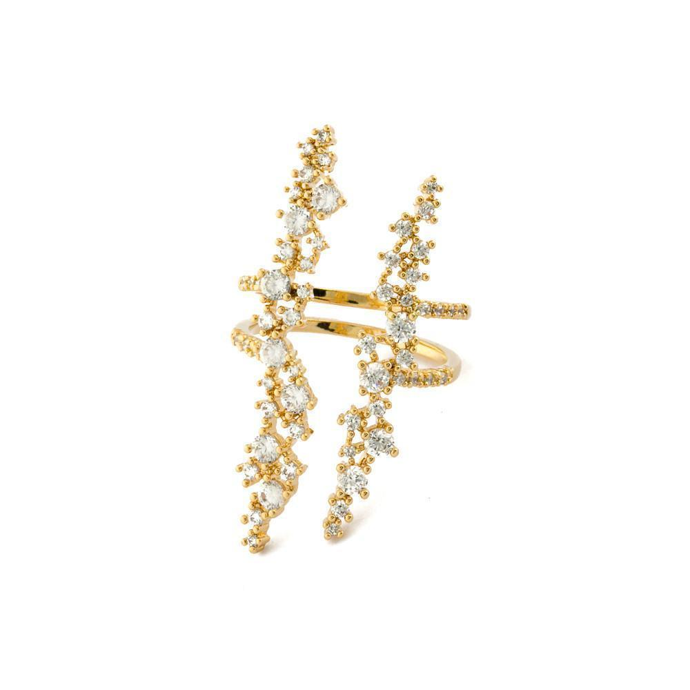VIVIANA GOLD PLATED CRYSTAL RING