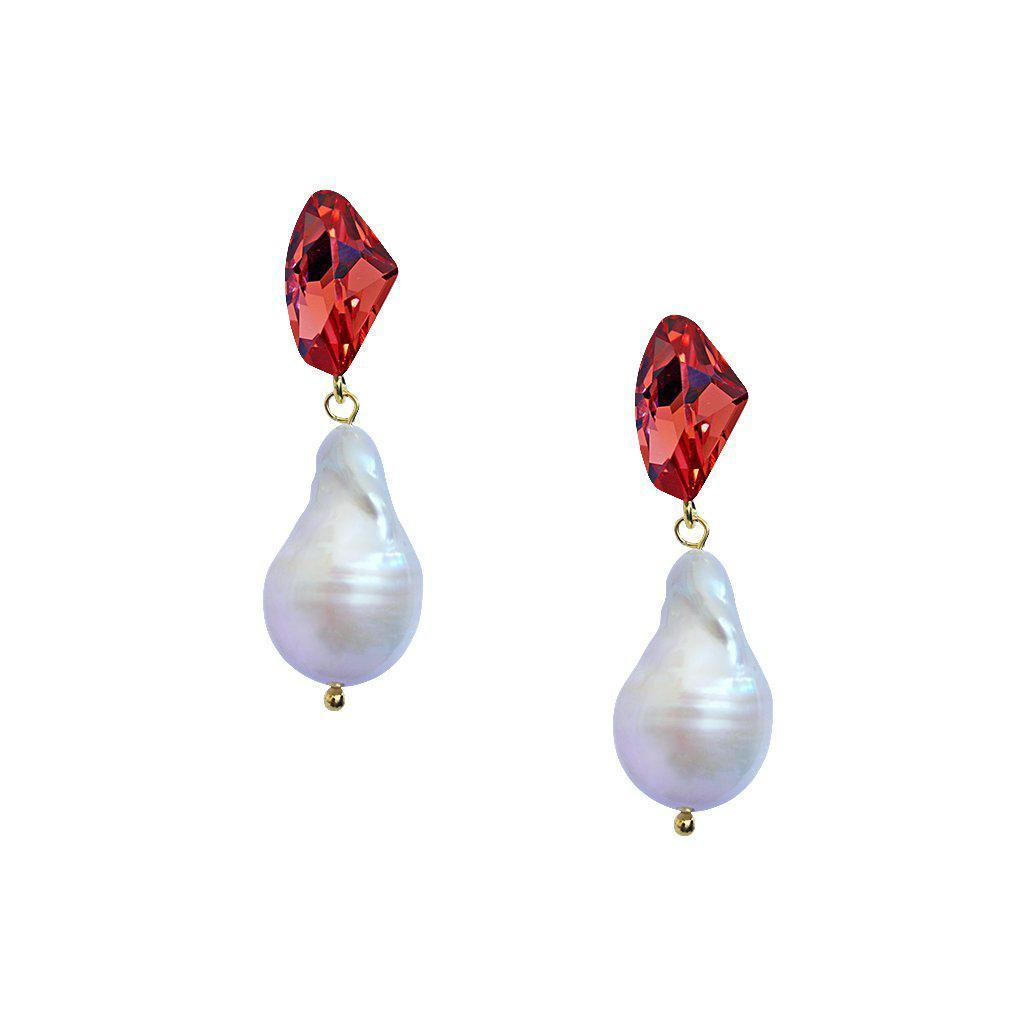 VONDA RED CRYSTAL AND FRESH WATER PEARL EARRINGS