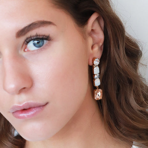 VRENI PINK CRYSTAL DROP EARRINGS