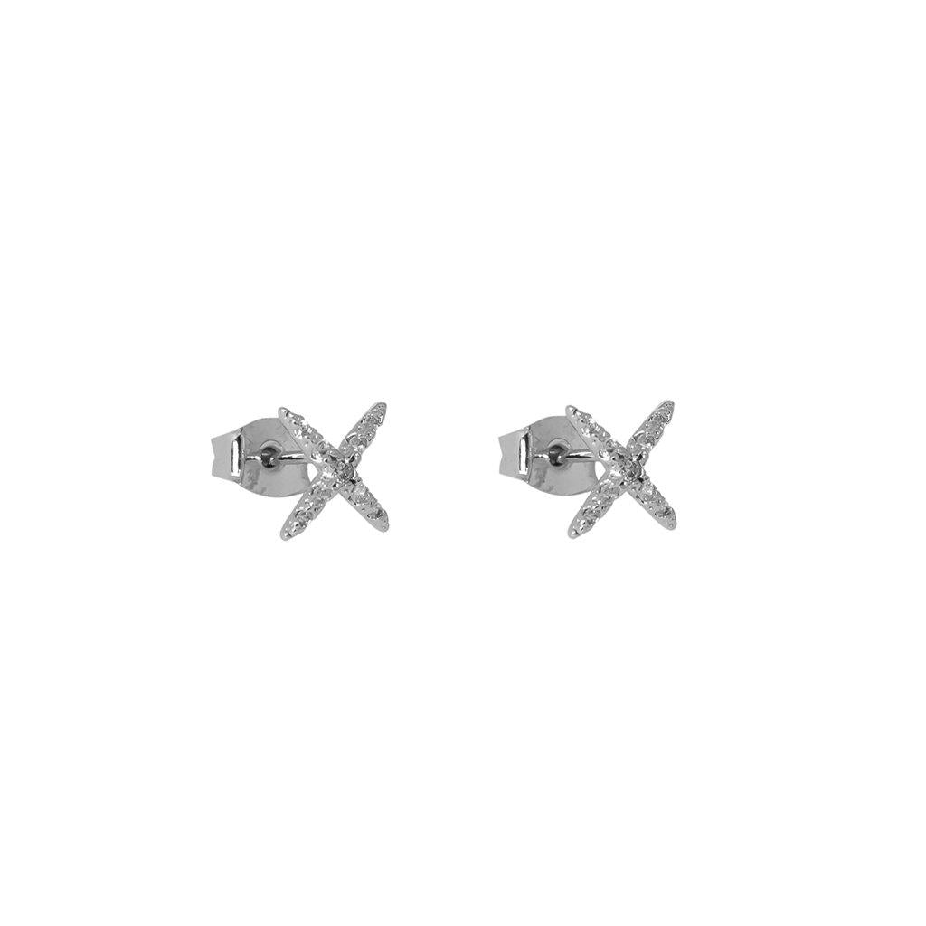 WINTER CROSS CRYSTAL SILVER STUDS EARRINGS