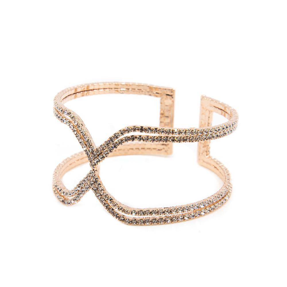 X ROSE GOLD CRYSTAL CUFF BRACELET