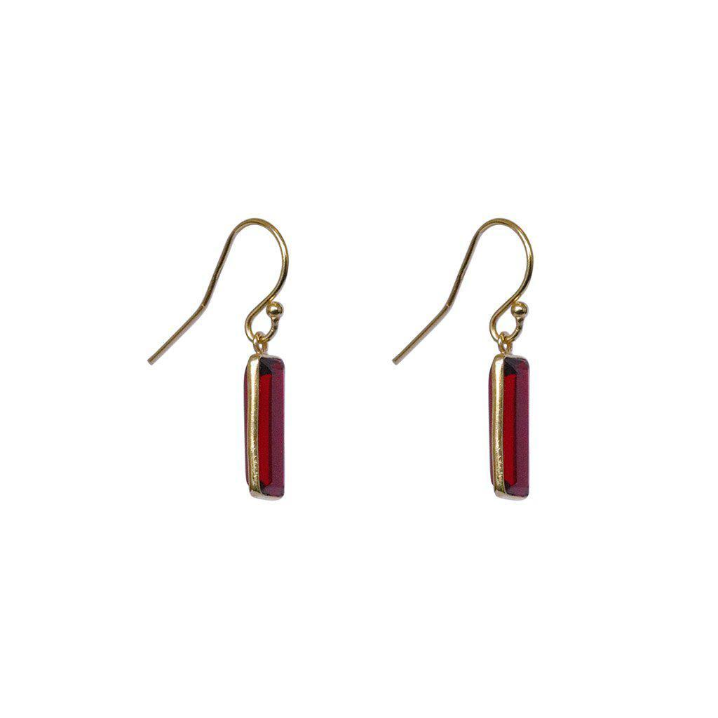 YARELI GARNET SEMI-PRECIOUS 2 MICRON GOLD EARRINGS