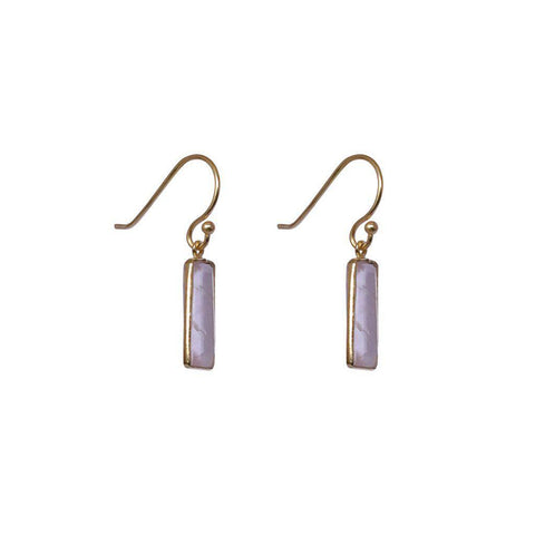 YARELI ROSE QUARTZ SEMI-PRECIOUS 2 MICRON GOLD EARRINGS