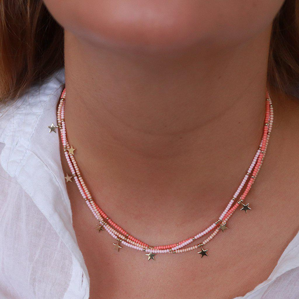 YASEN CORAL JAPANESE BEAD STAR NECKLACE