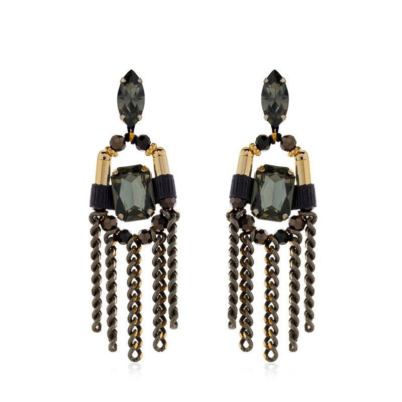 ZAHA BLACK EARRINGS-Earrings-MEZI