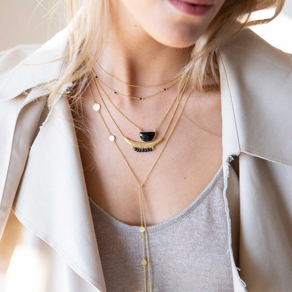 ZAVIA ONYX GOLD FILLED NECKLACE