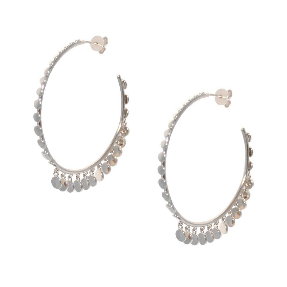 ZIA SILVER HOOP COIN TASSEL EARRINGS