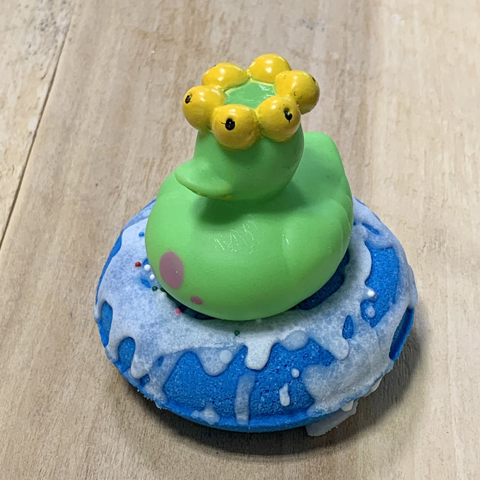 Blue Bath Donut with monster Bath Bomb