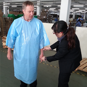 Disposable 3/4 Sleeve Splash Jacket Smock Factory Measure