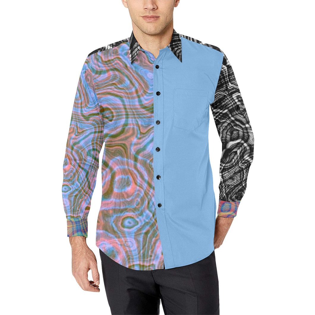Reflective Tendencies in Baby Blue Casual Dress Shirt