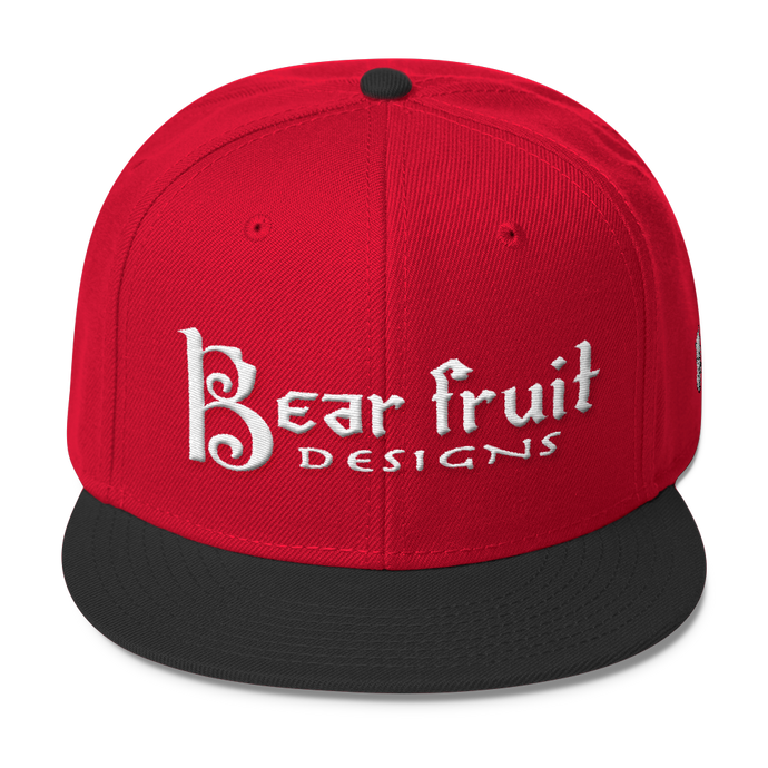 Red and Black Bear Fruit Snapback Hat