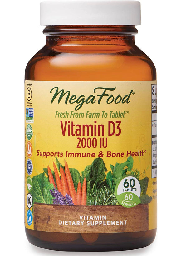 MegaFood D3 (2000 IU)-Vitamin Dietary Supplement - Sunshine Organic Herbals LLC
