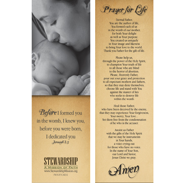 Prayer for Life Bookmark (25-Pack)
