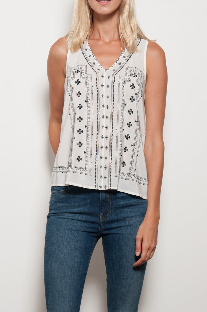 Merles Embroidered Silk Top