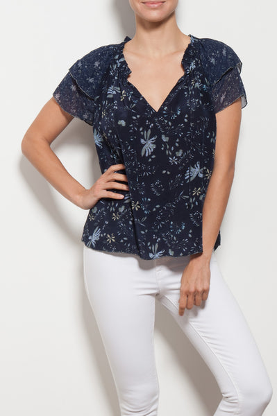 Angel Floral Printed Tie Top