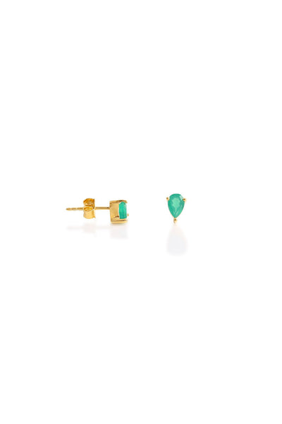 Emerald Green Onyx Pear Studs