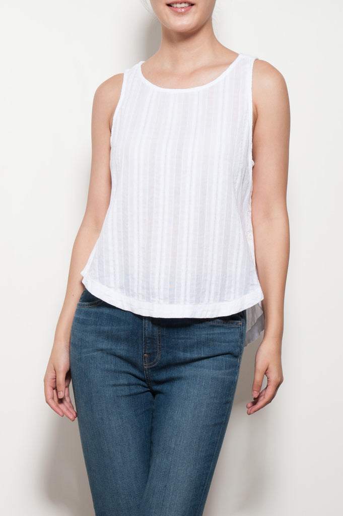 Side Button Pleated Tank