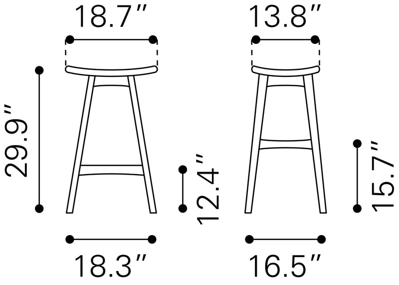 Allen Barstool Dove Gray & Walnut (Set of 2)