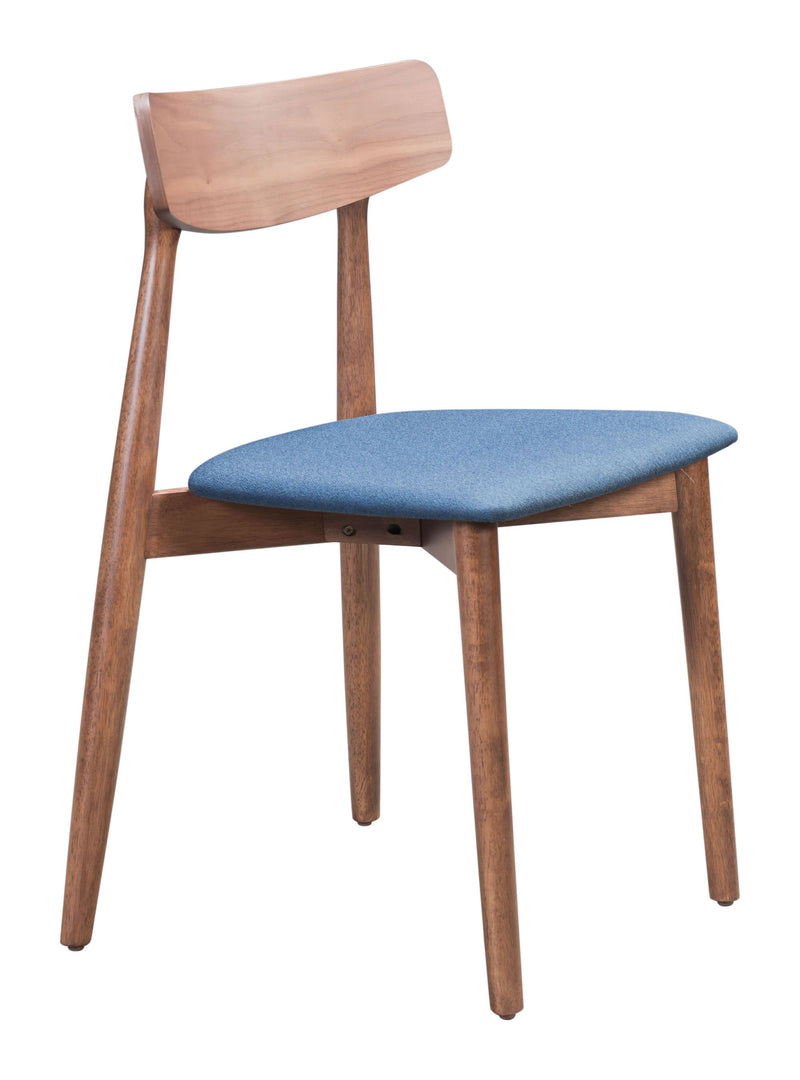 Newman Dining Chair Walnut & Ink Blue (Set of 2)