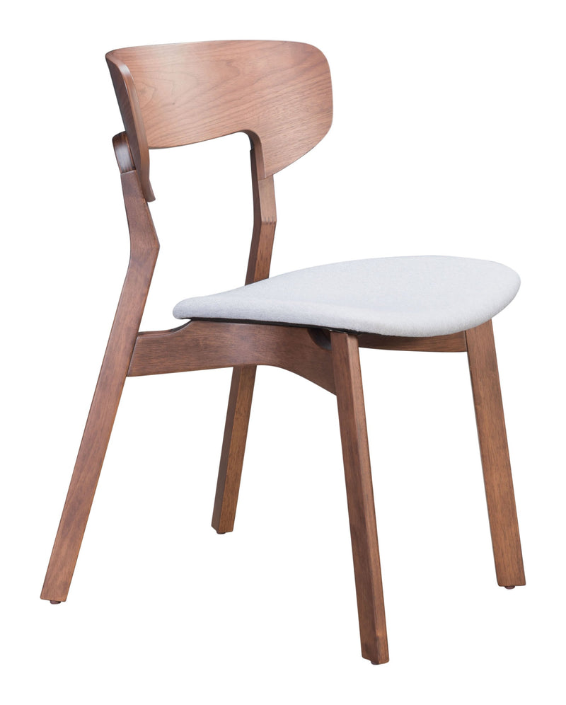 Russell Dining Chair Walnut & Light Gray (Set of 2)