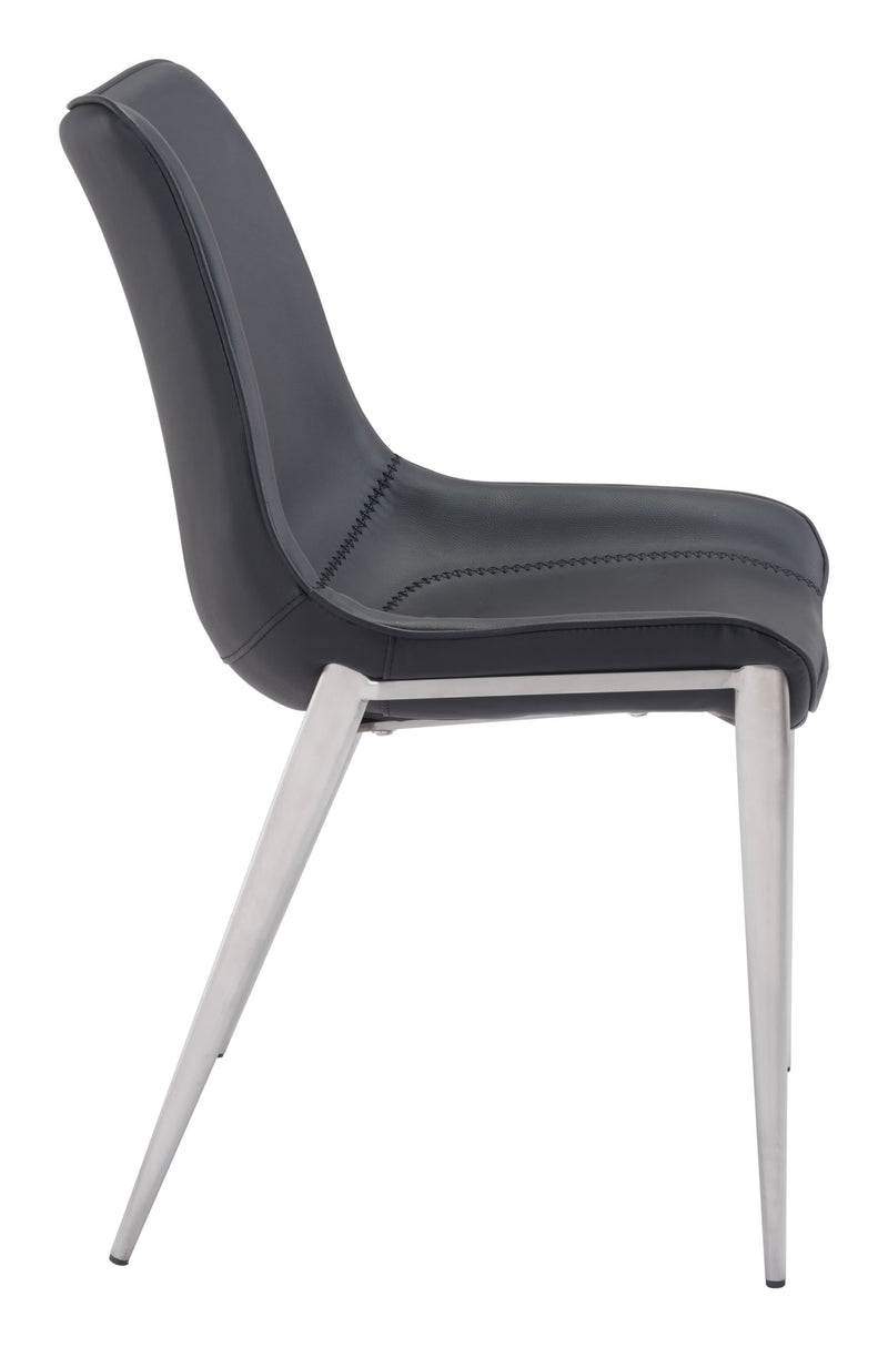 Magnus Dining Chair Black & Brushed Ss (Set of 2)