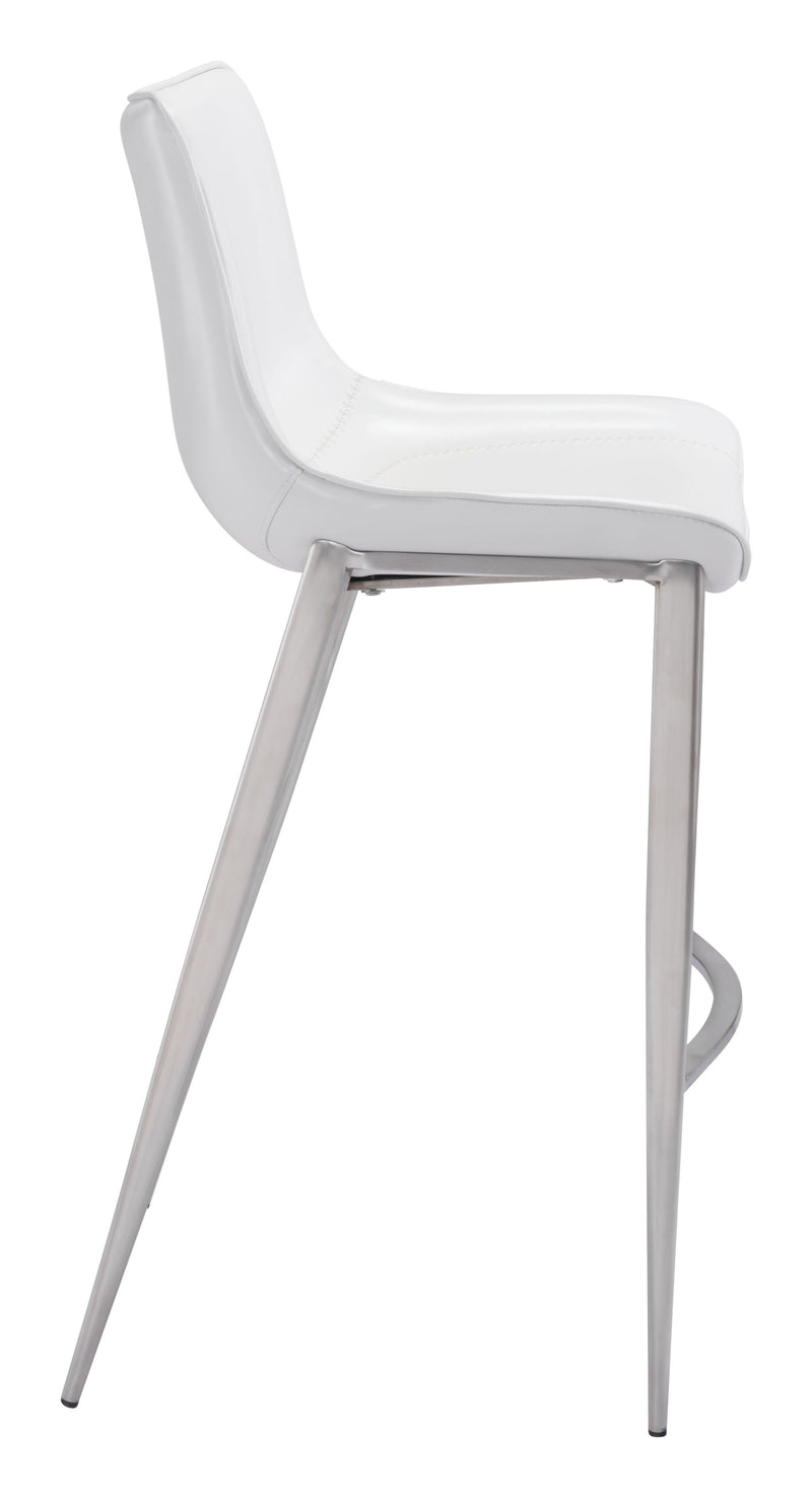 Magnus Bar Chair White & Brushed Ss (Set of 2)