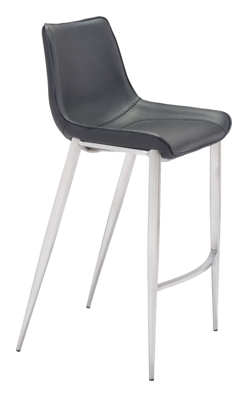 Magnus Bar Chair Black & Brushed Ss (Set of 2)