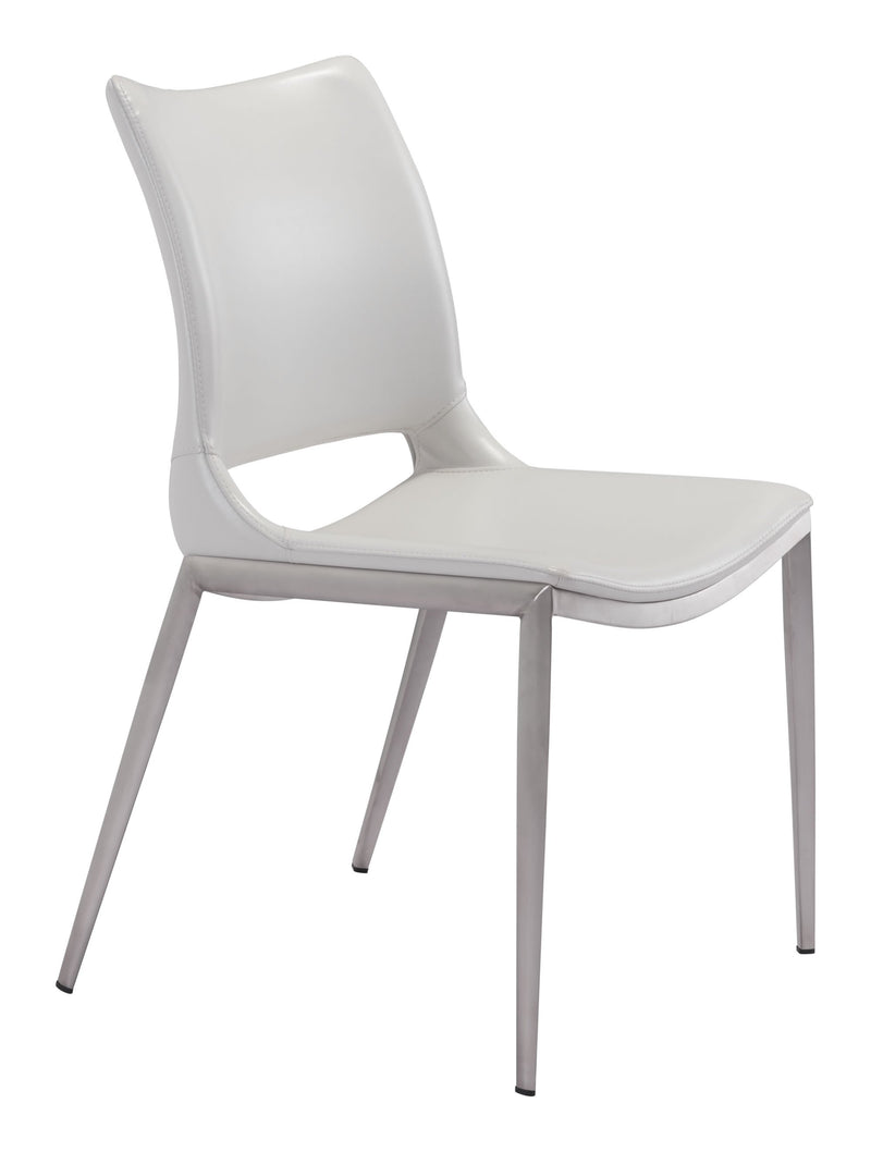 Ace Dining Chair White & Brushed Ss (Set of 2)