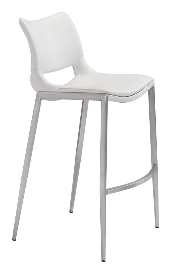 Ace Bar Chair White & Stainless (Set of 2)