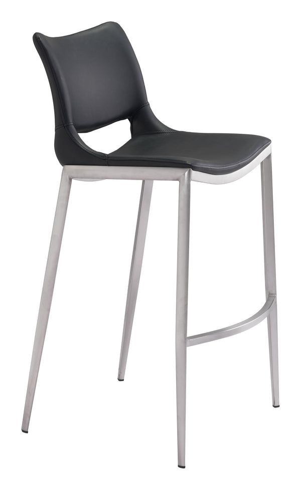 Ace Bar Chair Black & Brushed Ss (Set of 2)