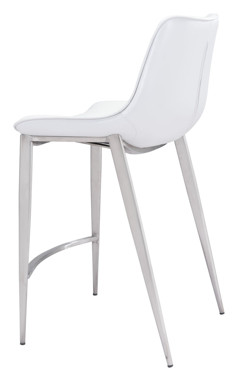 Magnus Counter Chair White & Brushed Ss (Set of 2)