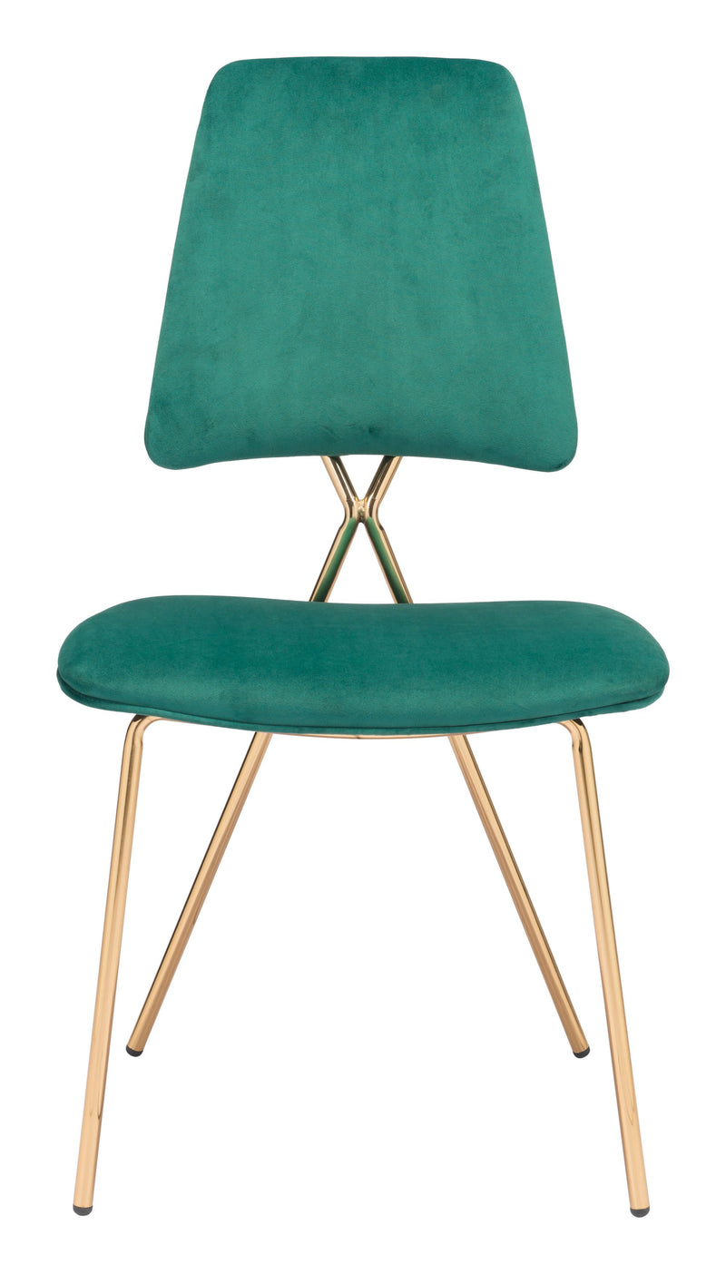 Chloe Chair Green & Gold (Set of 2)