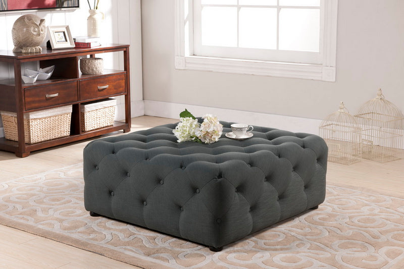 Teague Gray Linen Modern Tufted Ottoman