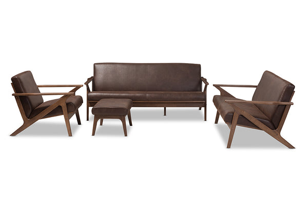 Bianca Brown Leather Sofa Set