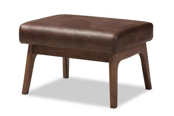 Bianca Brown Leather Ottoman